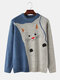 Mens Cute Cat Pattern Knit Crew Neck Casual Drop Shoulder Pullover Sweaters - Blue