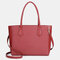 QUEENIE Casual Shopping Multifunction Handbag Ripple Shoulder Bag - Wine Red
