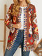 Ethnic Print Ribbons Corduroy Long Sleeve Jackets for Women - Coffee