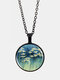 Vintage Glass Printed Daffodil Floral Pendant Necklace Women Necklace - Black