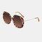 Женское Повседневная мода Классические солнцезащитные очки в металлической оправе круглой формы UV Защитные солнцезащитные очки - Леопард