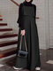 Casual Solid Color A-Line Loose Sleeveless Maxi Dress - Black