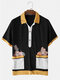 Mens Contrast Towelling Fruit Embroidery Short Sleeve Golf Shirts - Black