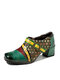 Socofy Ethnic Print Patchwork Genuine Leather Metal Buckle Square Toe Side Zipper Comfy Chunky Heel Pumps - Green