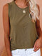 Solid Color O-neck Casual Tank Top for Women - Brown