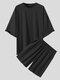 Plus Size Mens Solid Color Drop Shoulder Elastic Waist Casual Two Piece Outfits - Black