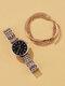 4 Pcs Ultra Thin Women Watch Inlaid Diamond Quartz Watch Chain Bracelet Set - Black