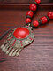 Vintage Bohemian Tassel Round-shape Alloy Wood Resin Necklaces - Red