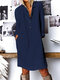 Cotton Solid Color Button V-neck Plus Size Casual Dress - Navy