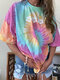 Floral Tie Dye Printed O-Neck Short Sleeve Loose T-shirt - Pink