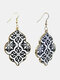 Vintage Baroque Alloy PU Leather Geometric-shape Argyle Floral Printing Earrings - #05