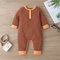 Baby Striped Print Long Sleeves Rompers For 6-24M - Brown