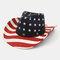 American Flag Retro Western Cowboy Hat Summer Prairie Straw Hat - #02