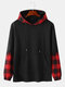 Mens Plaid Stitching Doctor Sleeve Casual Drawstring Hoodies - Black