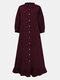 Solid Color Button Ruffled Neck Hem Long Sleeve Casual Dress For Women - Wine Red