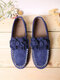 Large Size Women Flower Decor Loafers Solid Color Slip-on Low Top Flat Shoes - Blue