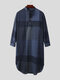 Mens Cotton Ethnic Gingham Kaftan Calf-Length Shirts Design Breathable Casual Robes - Navy