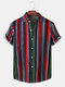 Mens Colorful Vertical Stripe Button Up Holiday Short Sleeve Shirts - Green