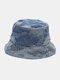 Unisex Washed Denim Solid Color Ripped Hole Fashion Sunshade Bucket Hat - Blue