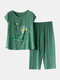 Plus Size Plants Print Pajamas Linen Softies Breathable O-Neck Summer Loungewear For Women - Green