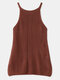 Solid Color Knitted Hollow O-neck Sleeveless Women Cami - Brick Red