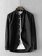 Men Cotton Solid Breathable Chest Pocket Loose Casual Long Sleeve Shirt - Black