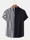 Men Patchwork Stripe Contrast Color Casual Shirt - Black
