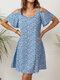 Floral Print Short Sleeve Off-shoulder Dress for Women - Blue