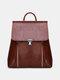 Women PU Leather Large Capacity Multi-carry Backpack Shoulder Bag - Dark Brown