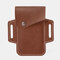 Men EDC Genuine Leather 5.5 Inch Phone Holder Waist Belt Bag - Coffee