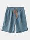 Pantalones cortos casuales con cordón de color sólido para hombres - azul