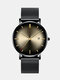Alloy Business Gradient Color Multi-function Mesh Strap Watch - Black+Gray