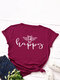 Bee Letters Loose O-neck Short Sleeve T-Shirt For Women - Wine Red