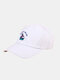 Unisex Cotton Letters Cartoon Skate Shoes Embroidery All-match Sun Protection Baseball Caps - White