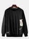 Mens Cotton Cartoon Cat Printing Applique Relaxed Fit Crew Neck Sweatshirts - Black