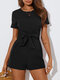 Solid Color Bowknot Short Sleeve Casual Romper for Women - Black