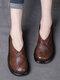 Женские повседневные ретро Soft удобные однотонные лоскутные туфли на платформе из свиной кожи - Темно коричневый
