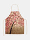 3D Tree Painting Pattern Cleaning Colorful Aprons Home Cooking Kitchen Apron Cook Wear Cotton Linen Adult Bibs - #08