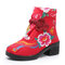 Women Folkways Embroidery Flower Chinese Knot Buckle Canvas Chunky Heel Short Boots - Red