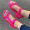 Tamanho grande feminino dedo aberto diariamente Soft sandálias rasteiras Gancho loop - Rosa