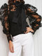 Lace Hollow Out Bowknot Tie Long Puff Sleeve Vintage Blouse - Black