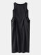 Solid Color Sleeveless Pockets Plus Size Long Dress - Black