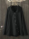 Vintage Solid Color Irregular Button Lapel Plus Size Shirt - Black