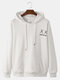 Mens Back Funny Face Letter Print Cotton Drawstring Hoodies With Pouch Pocket - White