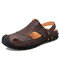 Men Anti-collision Hand Stitching Soft Closed Toe Cowhide Leather Sandals - Dark Brown
