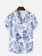 Mens Plant Floral Print Button Up Chinoiserie Short Sleeve Shirt - White