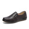 Men Pure Color Slip On Soft Sole Casual Loafers Shoes - Coffee