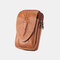 Men EDC Genuine Leather 6.5 Inch Phone Holder Waist Belt Bag - Yellow Brown