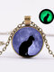 Vintage Glass Printed Women Necklace Moon Starry Black Cat Luminous Pendant Necklace Jewelry Gift - Bronze