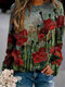 Calico Print O-neck Long Sleeve Plus Size Casual Blouse - Red